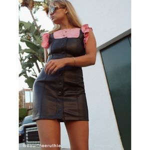 Size US 2 faux leather button up dress